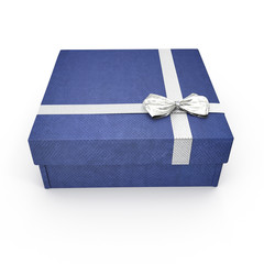 Square blue giftbox with lid tied with an ornamental ribbon on white. 3D illustration