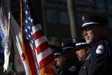 Pat Gibson, of American Medical Response Honor Guard, stands outside ATT Park before the MLB National League baseball game between the San Francisco Giants and the Los Angeles Dodgers in San Francisco, California
