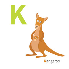 ABC english alphabet. Letter K. Kangaroo mom with baby in the pocket pouch. Cute cartoon character. Australia marsupial animal. Education card for kids. Flat design. White background. Isolated.
