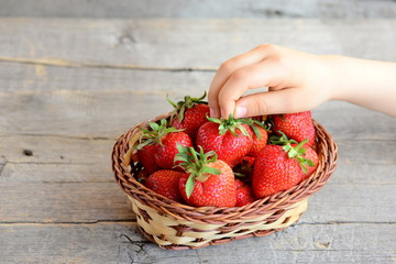 Child takes one strawberry from the basket. Small child holds a ripe strawberry in hand. Kids natural food. Juicy strawberries in a basket. Vintage wooden background. Closeup