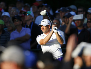 Spain's Sergio Garcia tees off on the 10th hole during the first round of the 2013 PGA Championship golf tournament at Oak Hill Country Club in Rochester