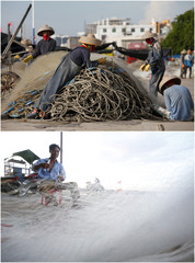A combination photo shows fishing nets being tended to in Dongfang, China and Ly Son island, Vietnam