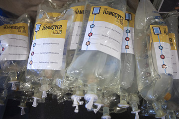 Intravenous drip bags are pictured on the Hangover Bus in the Manhattan borough of New York