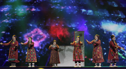 "Buranovskiye Babushki of Russia perform their song ""Party For Everybody"" during a rehearsal for the Eurovison Song Contest final in Baku"