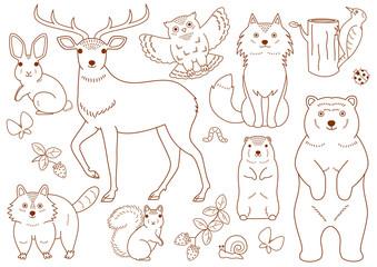 woodland animals elements set