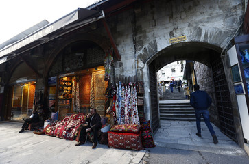 The Arasta Bazaar near the Blue Mosque, is empty of people, following an explosion in Istanbul