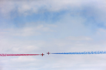 The Royal Air Force aerobatic team, the Red Arrows, perform during The Royal International Air Tattoo at the RAF in Fairford