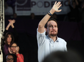 Podemos (We Can) party leader Pablo Iglesias waves during his final campaign rally before Spain's general election in Valencia