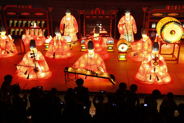 Visitors take pictures during the Seoul Lantern Festival in central Seoul