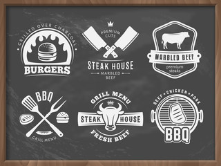 BQ, burger, grill badges. Set of vector barbecue logos. Retro emblems for steak house or grill bar on grungy chalkboard background