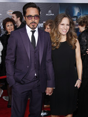 """Cast member Robert Downey Jr. and his wife Susan Downey pose at the world premiere of the film """"Marvel's The Avengers"""" in Hollywood"""