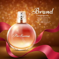 Aroma sweet perfume with red silk ribbon romantic gift vector background