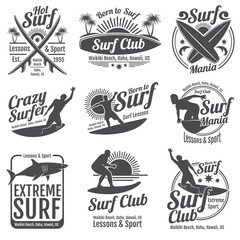 Surfing club vector vintage emblems. Surf board on wave signs