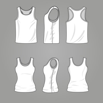 Mans and womans blank outline casual tank top vector mockup