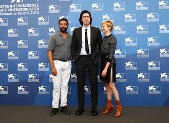 "Director Costanzo poses with cast members Rohrwacher and Driver during the photo call for the movie ""Hungry Hearts"" at the 71st Venice Film Festival"