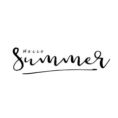 Hello Summer vector illustration, background. Hand lettering inspirational typography poster, banner.