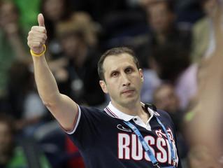Russia's coach Blatt reacts during his teams' FIBA EuroBasket 2011 Group F basketball game against Greece in Vilnius
