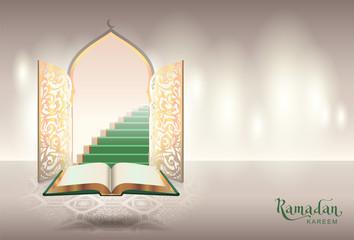 Ramadam kareem text greeting card. Open book of Koran and gateway to paradise