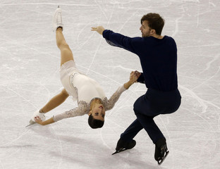 Marchei and Hotarek of Italy perform during the Pairs Short program at Skate Canada International in Lethbridge