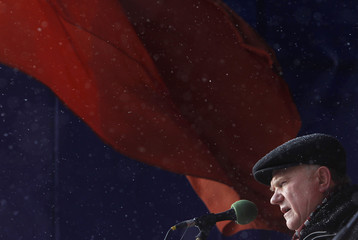 Zyuganov, leader of the Russian Communist Party, delivers speech during rally in Moscow