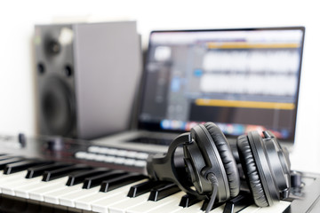 Home Studio recording Equipment with keyboard and headphone