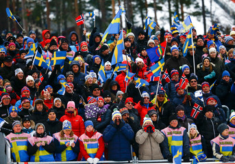 Spectators cheer during the men's cross country free/classic 4 x 10 km relay final at the Nordic World Ski Championships in Falun
