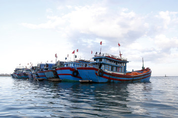 Fishing boats anchor near Ly Son island, in Vietnam's central Quang Ngai province