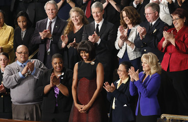 First lady Michelle Obama applauded before State of the Union speech in Washington