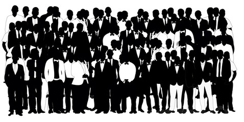 Collection of black and white silhouettes man team, crowd,  illustration