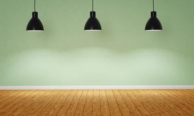 Leerer Raum mit drei Hängelampen