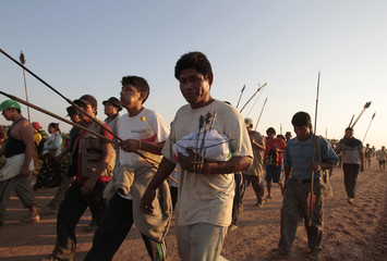 An indigenous Bolivian walks during the second day of a protest march 27 km from Trinidad