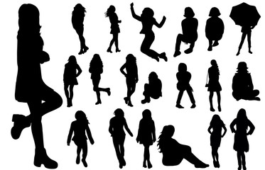 A collection of silhouettes of a teenager girl stands and sits