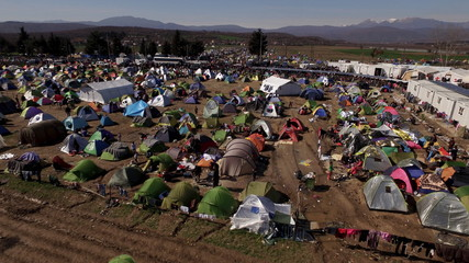 A general view of migrant's makeshift camp, near the village of Idomeni