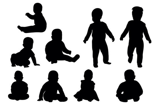 Collection of baby silhouettes
