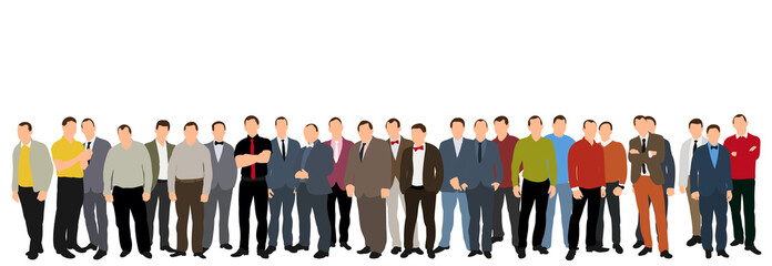 illustration, business man collection, big crowd
