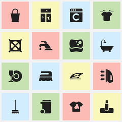 Set Of 16 Editable Cleanup Icons. Includes Symbols Such As Appliance, Bathroom, Whisk And More. Can Be Used For Web, Mobile, UI And Infographic Design.