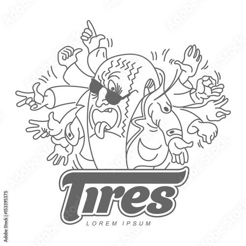 Vector Cartoon Caricature Character Tire Logo Template Character