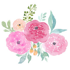 Watercolor handpainted flowers: roses, leaves, branches. Pink roses illustration for wedding invitations and greeting cards
