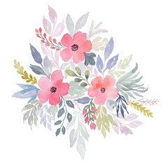 Watercolor floral bouquet. Flowers bouquet of wildflowers. Tender watercolor illustration for wedding design. Pink flowers