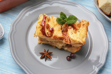 Delicious bread pudding on plate