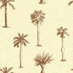 Seamless pattern with palm trees. Palmetto repeatable pattern.