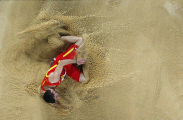 Caceres of Spain competes in men's long jump qualification during world indoor athletics championships at tAtakoy Athletics Arena in Istanbu
