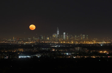 File photo of the moon rising over New York, as seen from the Eagle Rock Reservation in West Orange, New Jersey