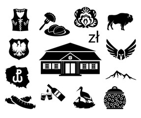 National symbols of Poland - vector icon set
