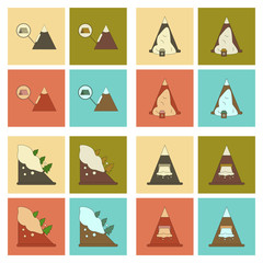 assembly flat icons mountains snow avalanche
