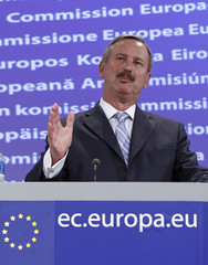 European Transport Commissioner Kallas addresses a news conference at the EU Commission headquarters in Brussel