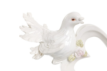 Wedding doves. Symbol of love and wedding. A figurine on a white background. Isolated