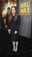 """Singer Presley poses at the premiere of """"Mad Max: Fury Road"""" in Hollywood"""