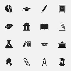 Set Of 16 Editable Science Icons. Includes Symbols Such As Pencil, Mind, Blackboard And More. Can Be Used For Web, Mobile, UI And Infographic Design.