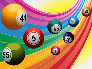 Bingo balls over curved rainbow
